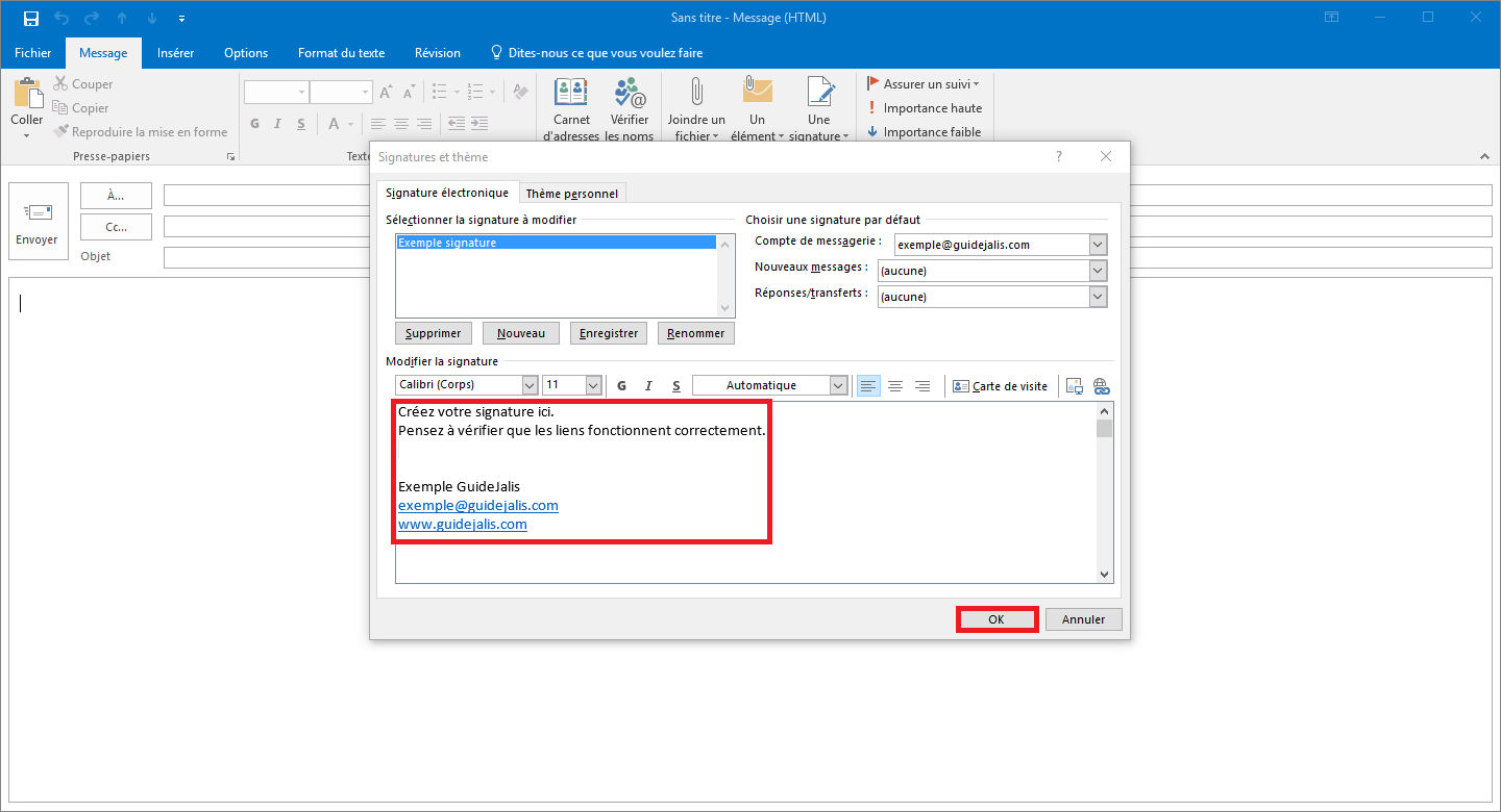 how to add a signature to outlook 2016